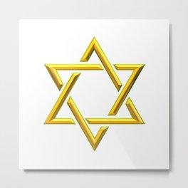 Golden 3-D Look Jewish Star of David Metal Print