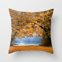denmark Throw Pillows featuring Autumn in Denmark by by Henrik Wulff Petersen (zoomphoto)
