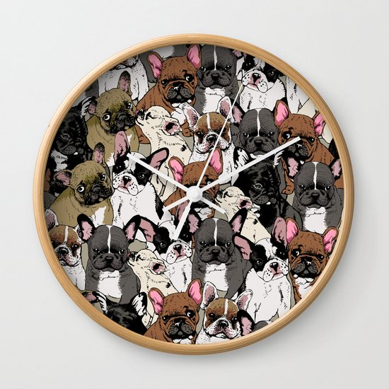 Social Frenchies Wall Clock