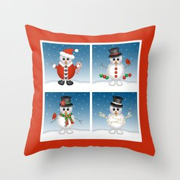 Cute Snowmen with Ornaments, Candy Cane and Strand of Lights Throw Pillow
