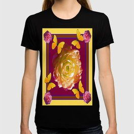 Yellow-Pink Roses Yellow Butterflies Purple Pattern T-shirt