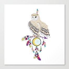 Owl with dreamcatcher Canvas Print