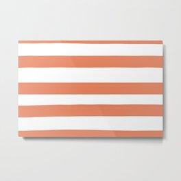 Fringe Orange, Orange Slice, Fiery Sky, Heirloom Tomato Orange Hand Drawn Fat Horizontal Lines Metal Print