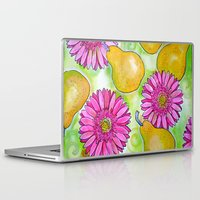 preppy Laptop & iPad Skins featuring Preppy Pears & Daisies by Limezinnias Design