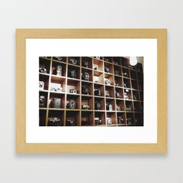 Vintage Camera Affair on Wood. Framed Art Print