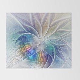 Floral Fantasy, Colorful Fractal Art Throw Blanket