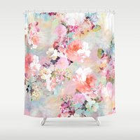 abstract Shower Curtains featuring Love of a Flower by Girly Trend
