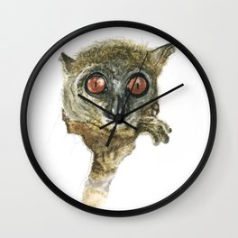 Sportive Lemur in a Tree Hole Wall Clock