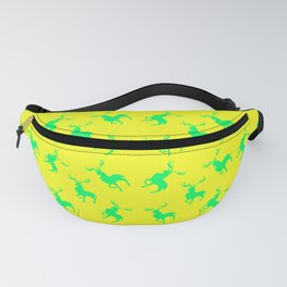 green moose silhouettes against bright yellow background pattern graphic design Fanny Pack