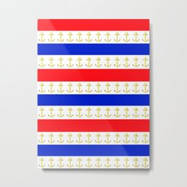 Red White Blue Anchors Away Metal Print