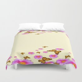 SCATTERED  PINK WILD ROSES  MONARCH BUTTERFLIES Duvet Cover