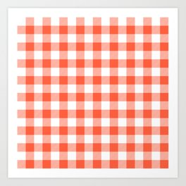 Jumbo Living Coral Color of the Year Orange and White Buffalo Check Plaid Art Print