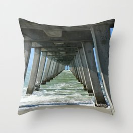 Under The Fishing Pier Throw Pillow