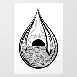 Black Sun Teardrop Art Print