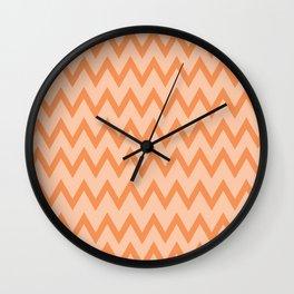 Trendy Orage and Peach Chevron Zigzag Pattern Wall Clock