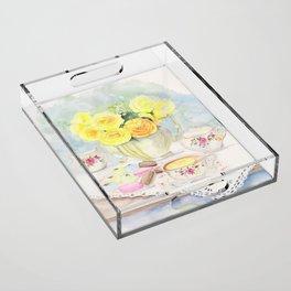 I Love Yellow Roses at Tea Time Acrylic Tray