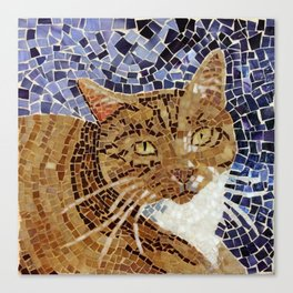 Tiger Cat - Stained Glass Mosaic Canvas Print