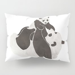 Mother and baby panda playing Pillow Sham