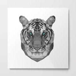 Geometric White Tiger Metal Print