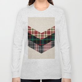 Ivory black pink marsala red geometrical chevron plaid pattern Long Sleeve T-shirt