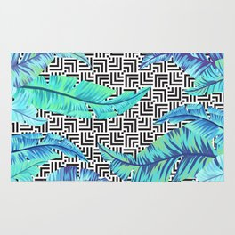 turquoise tropical leaves Rug