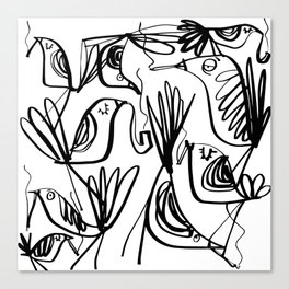 Smoking birds pattern in black and white Canvas Print