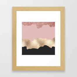 Rose Gold Glitter Black Pink Abstract Girly Art Framed Art Print