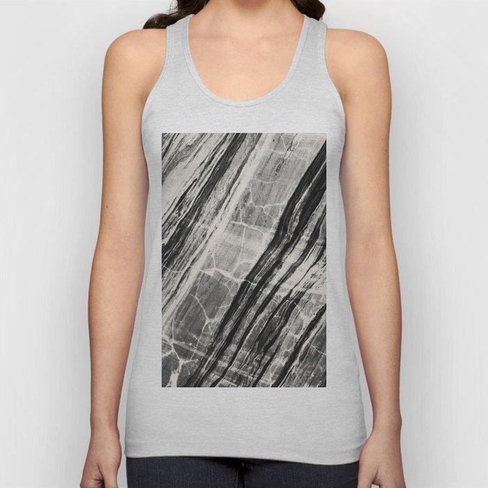 Abstract Marble - Black & Cream Unisex Tank Top