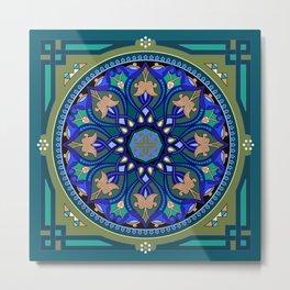 Boho Floral Crest Blue and Green Metal Print