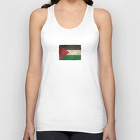 palestine Tank Tops featuring Old and Worn Distressed Vintage Flag of Palestine by Jeff Bartels