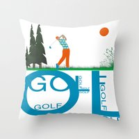 golf Throw Pillows featuring Golf, golf, golf! by South43