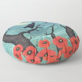 crows, fireflies, and poppies in the moonlight Floor Pillow