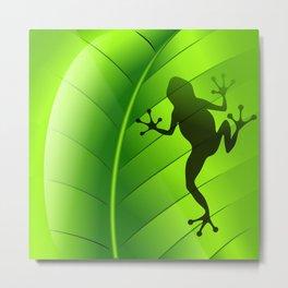 Frog Shape on Green Leaf Metal Print