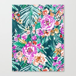 TROPICAL FEELS Begonia Palm Watercolor Pattern Canvas Print
