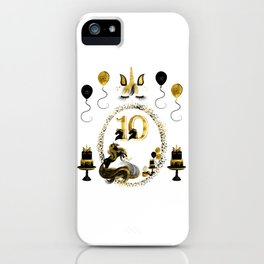 Pretty Golden Unicorn Birthday Girl 10 Years Born 2008 iPhone Case