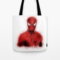 spider man Tote Bags featuring Spider-Man by KitschyPopShop