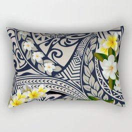Traditional Hawaiian Tapa and Plumeria Rectangular Pillow