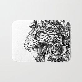 Ornate Leopard Black & White Variant Bath Mat