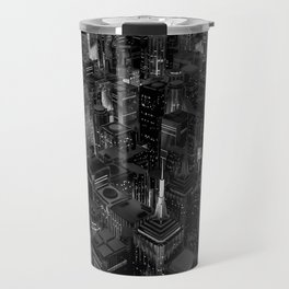 Night city glow B&W / 3D render of night time city lit from streets below in black and white Travel Mug