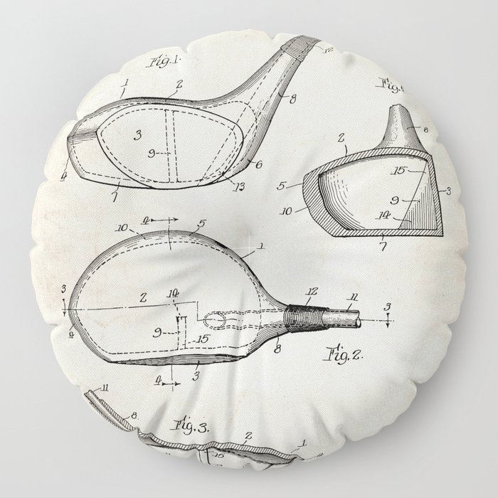 Golf Driver Patent - Golf Art - Antique Floor Pillow