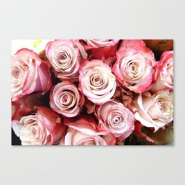 Red And Pink Rose Bouquet Canvas Print