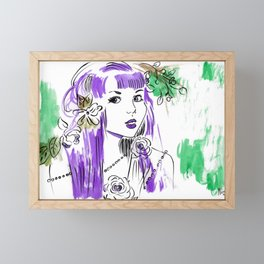 Roses and Pearls - Purple and Green Palette  Framed Mini Art Print