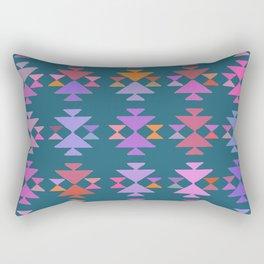 Painted Aztec Pattern in Blue Rectangular Pillow