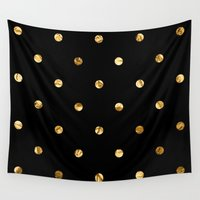 black and gold Wall Tapestries featuring Black & Gold by The Wellington Boot