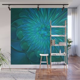 Floral in Sea Colors Wall Mural