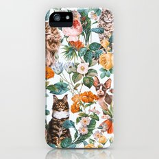 Cat and Floral Pattern III Slim Case iPhone SE