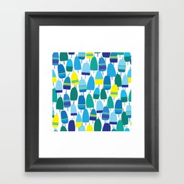 Blue Lobster Buoy Pattern Framed Art Print