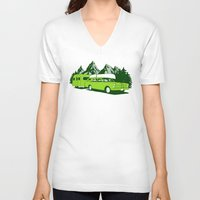 camping V-neck T-shirts featuring Camping trip by Grilldress