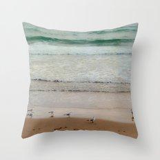 Seagulls at the beach Throw Pillow