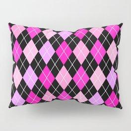 Pink Lavender Black Argyle Pillow Sham